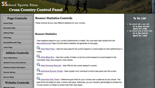 School Sports Sites Cross Country Control Panel
